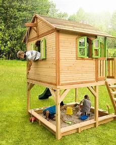 holz kinderspielhaus auf stelzen sandkasten garten