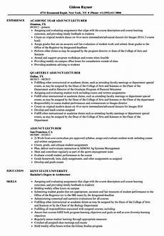 adjunct lecturer resume sles velvet