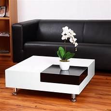 Table Basse 80 Cm Plateau D Angle Amovible Blanc Noir