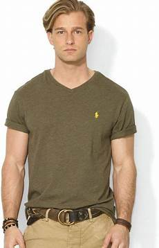 ralph polo jersey vneck slim fit in green for