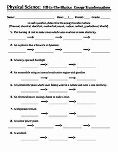 physical science energy transformation worksheet 13198 energy transformations worksheet fill in the blank by mercury manufacturing