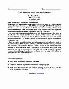 sherlock holmes eighth grade reading worksheets reading worksheets 8th grade reading reading