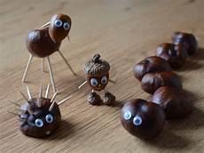 kastanien basteln kindern lustige tiere aus kastanien basteln herbst