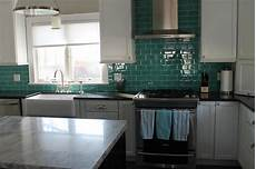 Glass Subway Tile Backsplash Kitchen Teal Glass Subway Tile Backsplash Modern Kitchen