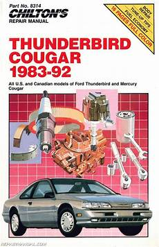 car repair manuals download 1991 ford thunderbird on board diagnostic system 1983 1992 chilton ford thunderbird cougar repair manual