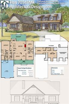 craftsman house plans with porches plan 70569mk craftsman house plan with courtyard garage