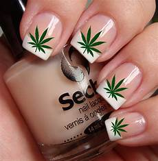 free shipping pot leaves marijuana nail art ptg by
