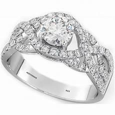 925 sterling silver luxury wedding engagement cut twist bridal ring