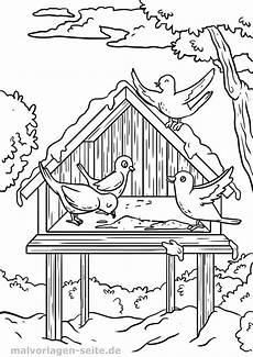 malvorlage vogel im winter vogelh 228 uschen in 2020 mit