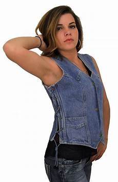 womens blue denim vest w side laces howling wolf patch