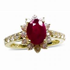 9k y gold burmese ruby ovl 1 50 ct white sapphire ring 2 500 ct m2113235 tjc