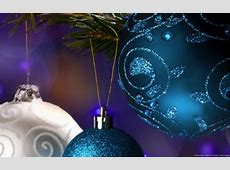 Christmas Wallpaper   Blue and White Baubles   Brand Thunder