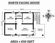 autocad drawing shows the details of 2bhk north facing