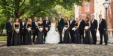 elegant black and white wedding party