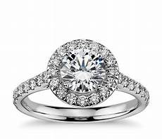 halo diamond engagement ring in 14k white gold 1 2 ct tw blue nile