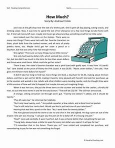 reading comprehension worksheet how much