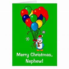 merry christmas nephew penguin with balloons card zazzle