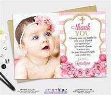 thank you card template for baptism pink gold thank you card floral picture thank you card