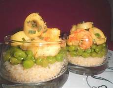 bicchieri plastica finger food bicchiere con cous cous piselli e pesce al curry in 10