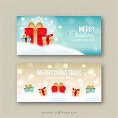 merry christmas banners with gifts vector free download