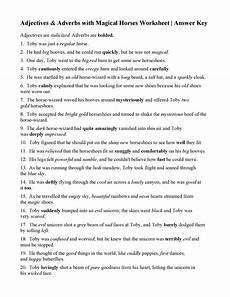 adjectives and adverbs with magical horses worksheet answers