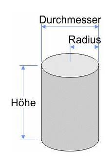 berechnung des volumens und der fl 228 che eines zylinders