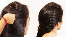 simple beautiful hairstyles side puff with trick and ponytail hairstyle youtube