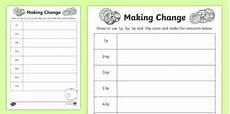money worksheets ks2 giving change 2208 change 1p 2p 5p and 10p coins worksheet worksheet ni ks1