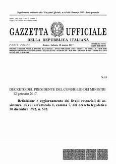 decreto presidente consiglio dei ministri d p c m 12 01 2017 lea definizione e aggiornamento by