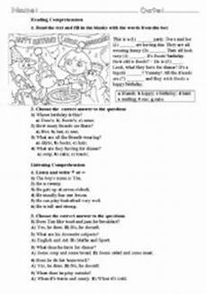 reading listening comprehension for beginner elementary level can be used as a part of end of