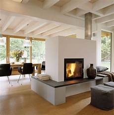 Panoramakamin Im Wohnzimmer Mit Bodentiefen Fenster Haus