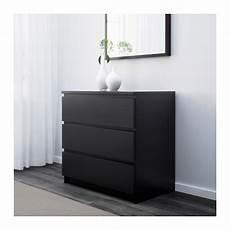 malm commode 3 tiroirs brun noir ikea