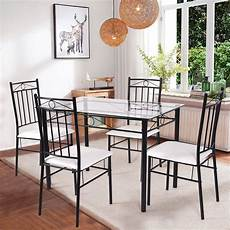 Restaurant Kitchen Furniture Costway 5 Dining Set Glass Metal Table And 4 Chairs
