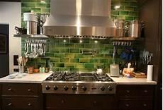Green Glass Tiles For Kitchen Backsplashes Green Subway Tile Kitchen Backsplash Crafty Faux