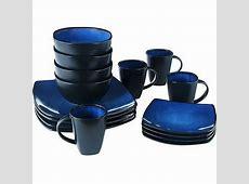 Beautiful Black And Blue Dinnerware Set 16 Piece Round
