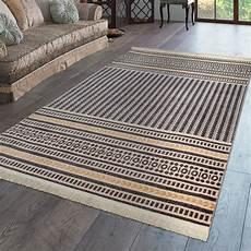 teppich gelb grau kurzflor fransen teppich wohnzimmer boho design streifen
