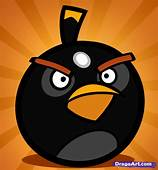 How To Draw The Bomb Bird Angry Birds Step By