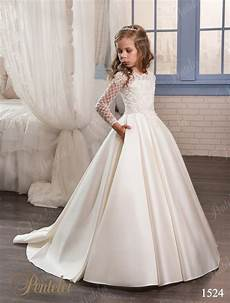 2017 pink ivory flower girl dresses for weddings long sleeve satin beaded appliques first