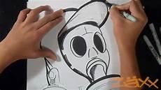 zeichnung gasmasker graffiti