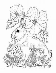adult coloring page bunny and hibiscus digital download etsy