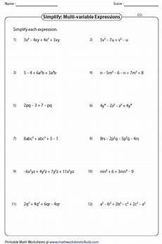 expressions and equations worksheets simplifying algebraic expression worksheets