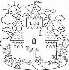 fairytale themed coloring pages 14942 tale castle and flowers coloring page stock illustration image now istock