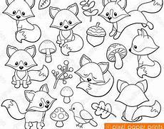 baby woodland animals coloring pages 17514 woodland animals digital sts clipart digital sts friendly fox digi sts