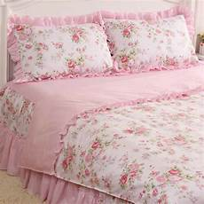 4 pcs pink rose floral check princess bedding duvet comforter cover set style l ebay