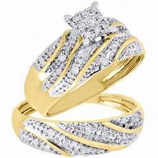 10k yellow gold diamond trio matching engagement ring wedding band 27 ct ebay