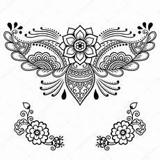Henna Flower Template Mehndi Style Set Of
