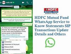 hdfc mutual fund whatsapp service 8270682706 to know statements sip transactions techaccent