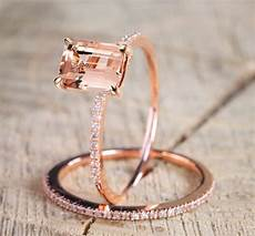 bamos female square ring set luxury 18kt rose gold filled ring vintage wedding band promise