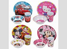 Kids Disney Breakfast 3 Piece Melamine Plate Bowl Mug