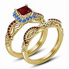 14k gold over 925 sliver princess cut cz disney princess wedding bridal ring cz